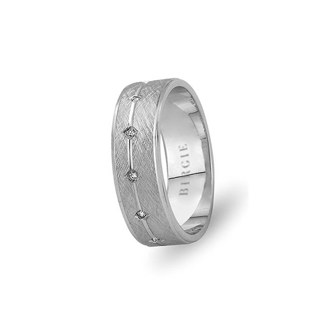 White Gold Gulbahar Matt Wedding Band w/ Diamonds