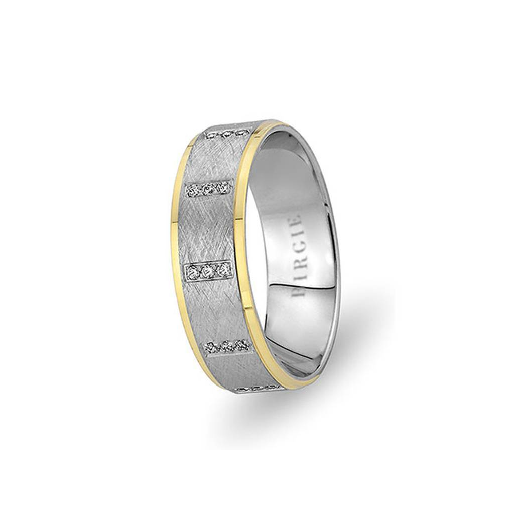 White and Yellow Gold Nigar Wedding Band w/ Diamonds