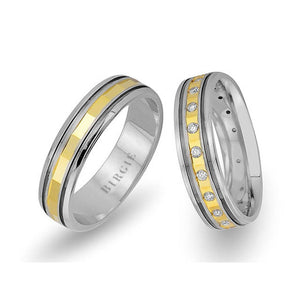 White and Yellow Gold Fulane Wedding Band w/ Diamonds