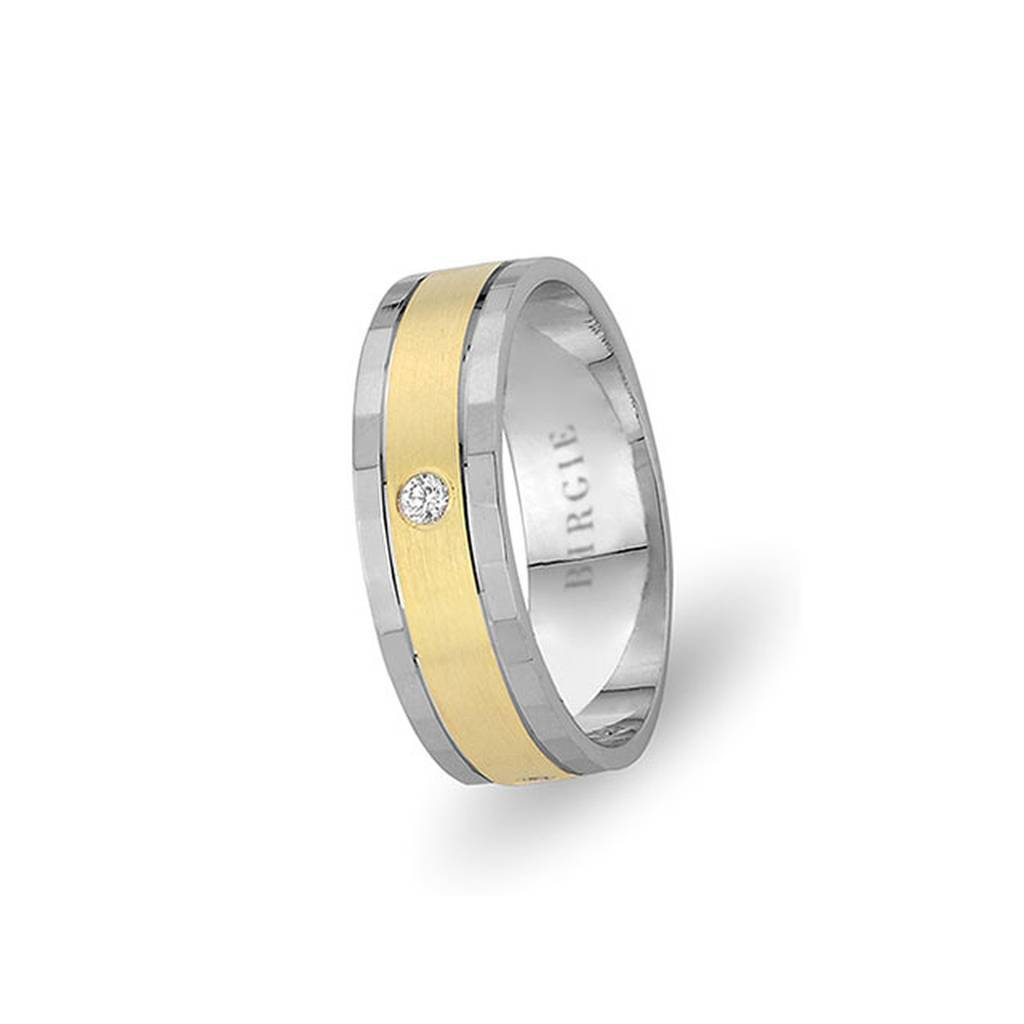 White and Yellow Gold Gulfem Wedding Band w/ Single Diamond