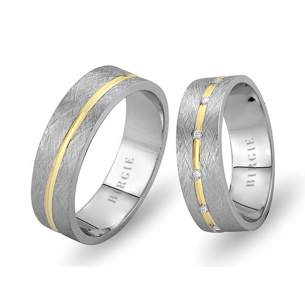 White and Yellow Gold Safiye Wedding Band w/ Diamonds