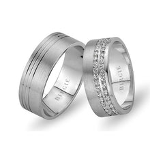 Load image into Gallery viewer, White Gold Wedding Band w/ Twin Line Diamonds