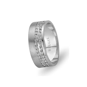 White Gold Wedding Band w/ Twin Line Diamonds