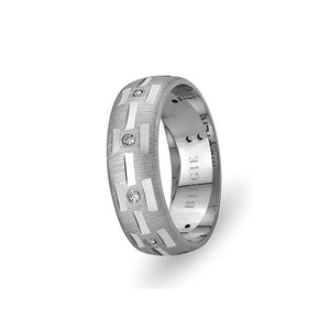 White Gold Lebriz Wedding Band w/ Diamonds
