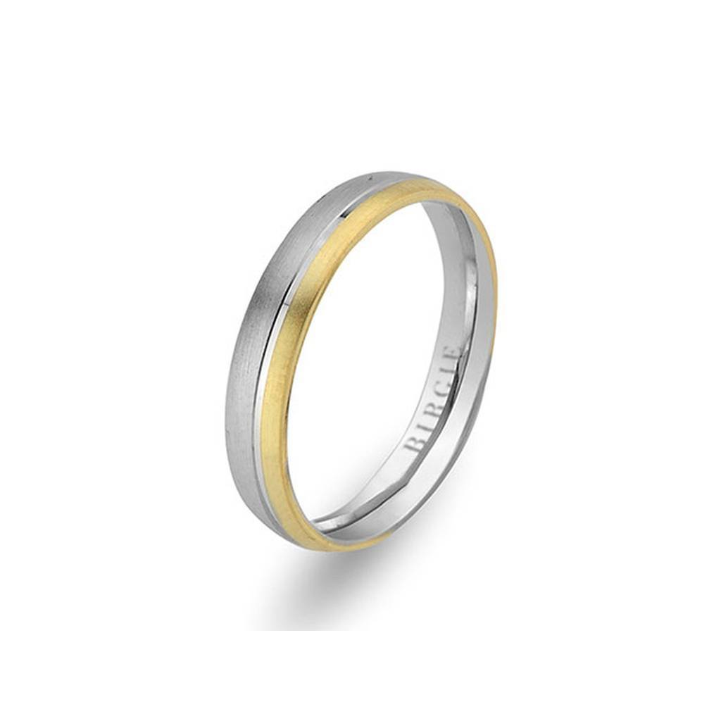 White and Yellow Gold Basil Wedding Band