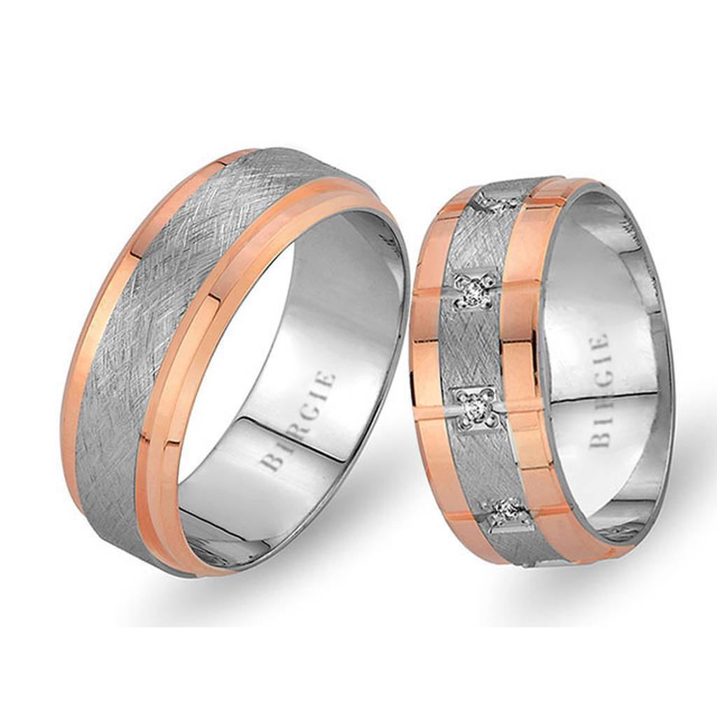 White and Rose Gold City of Rose Wedding Band w/ Diamonds