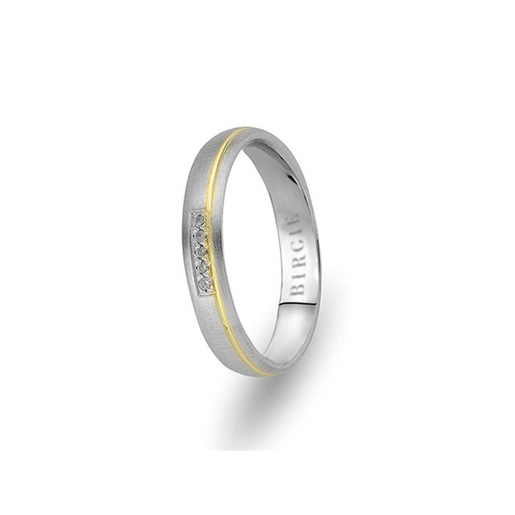 White and Yellow Gold Sazkar Wedding Band w/ Diamonds
