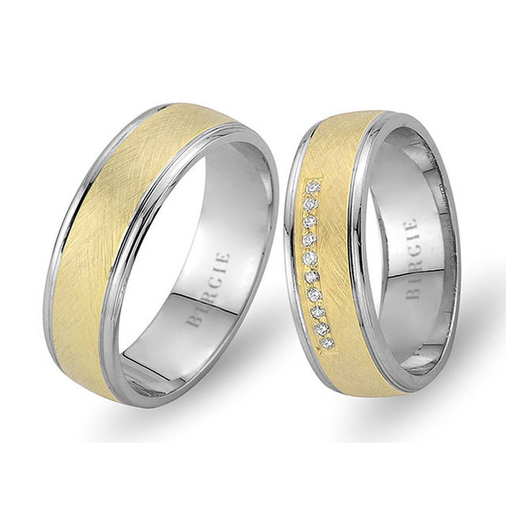 White and Yellow Gold Matt Dreamy Wedding Band w/ Diamonds