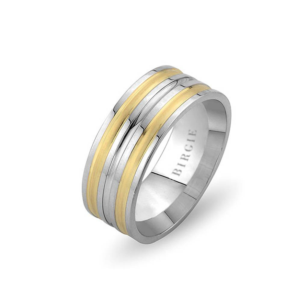 White and Yellow Gold Daffodil Wedding Band