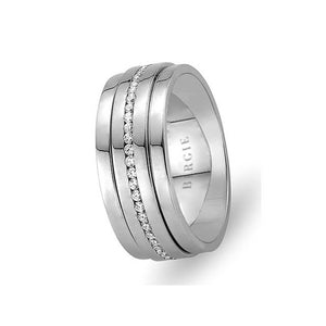 White Gold Nefi Wedding Band w/ Diamonds
