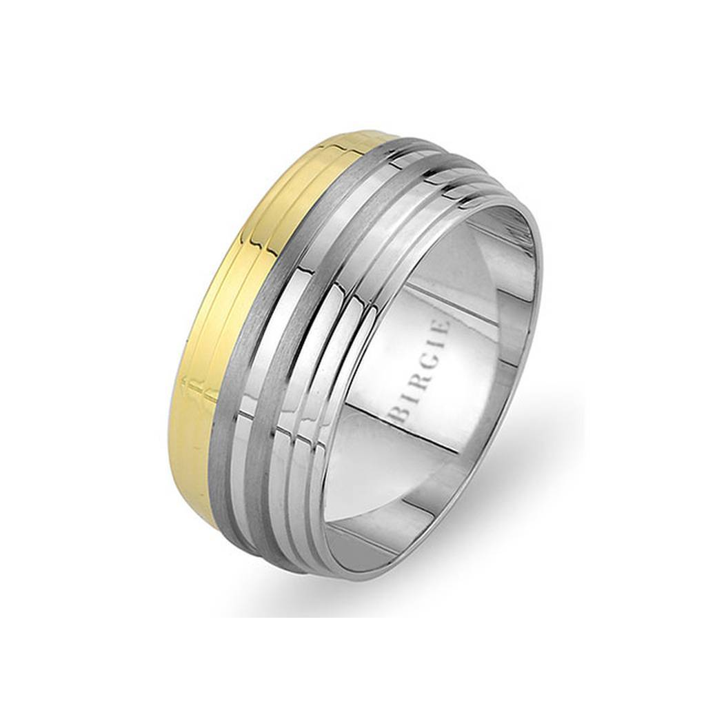 White and Yellow Gold Dolphin Wedding Band w/ Diamonds
