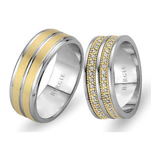White and Yellow Gold Wedding Band w/ Twin Line Diamonds