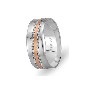 White and Rose Gold Nesimi Wedding Band w/ Twin Line Diamonds