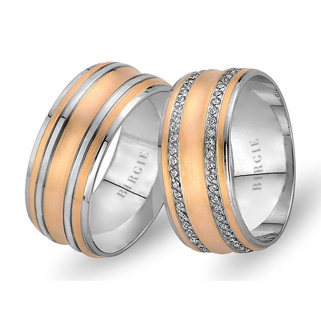 White and Rose Gold Maswi Wedding Band w/ Twin Line Diamonds