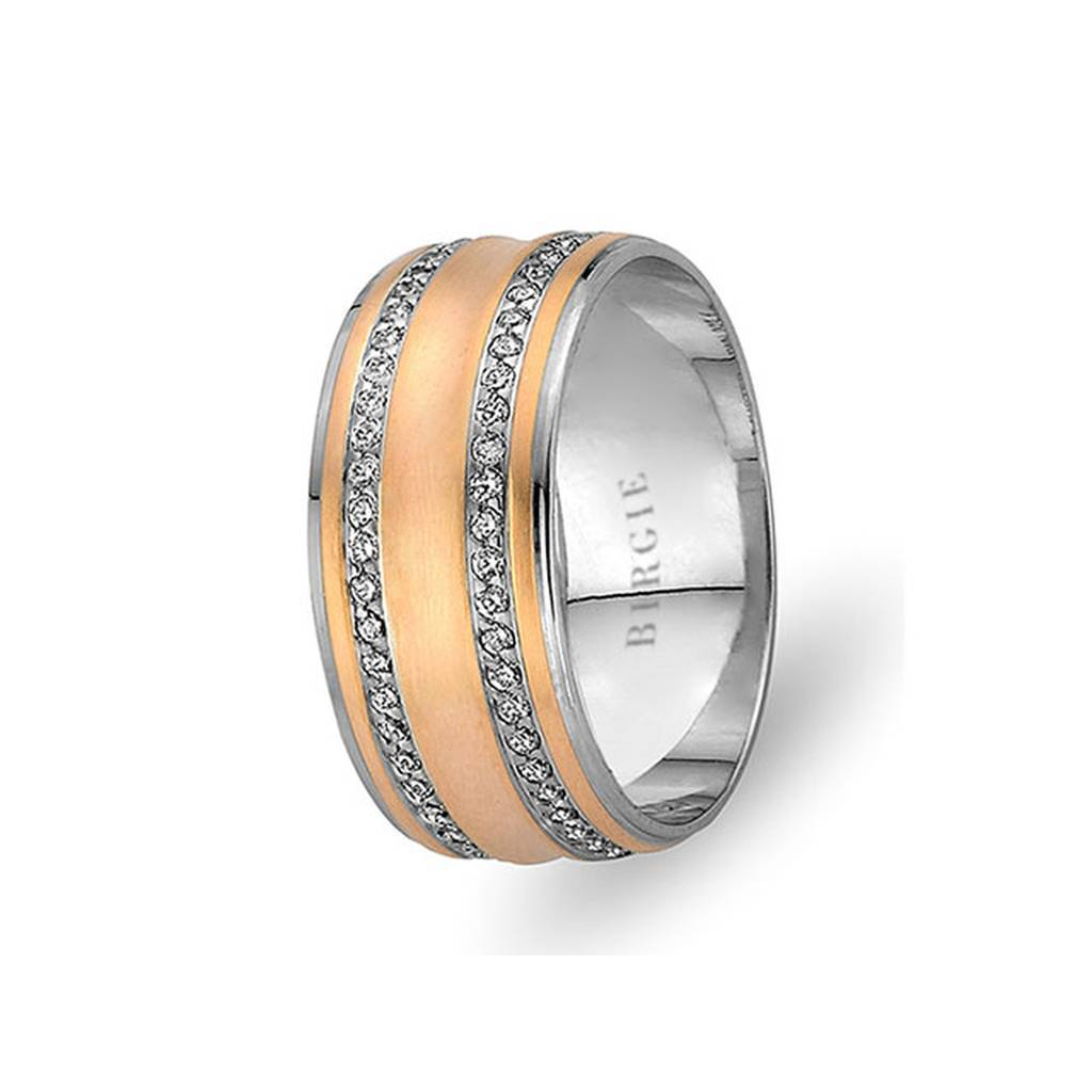 White and Rose Gold Masnawi Wedding Band w/ Twin Line Diamonds