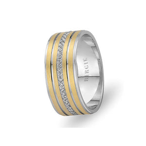 White and Yellow Gold Eflaki Wedding Band w/ Diamonds