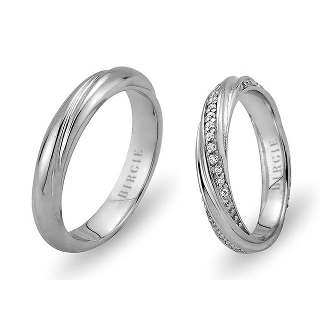 White Gold Style Wedding Band w/ Diamonds