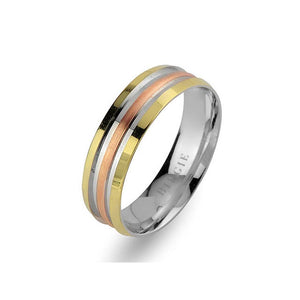 White, Rose and Yellow Gold Levni Wedding Band