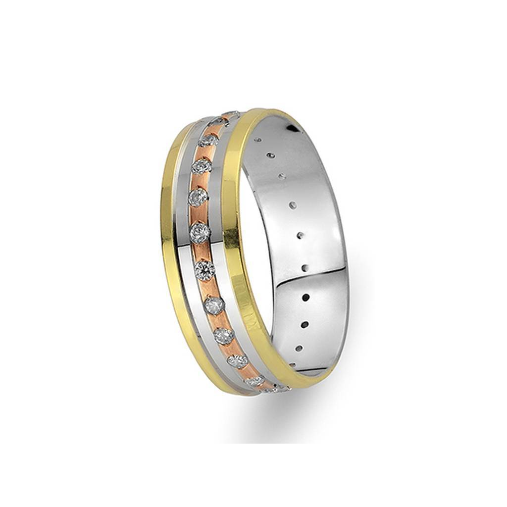 White, Rose and Yellow Gold Levni Wedding Band w/ Diamonds
