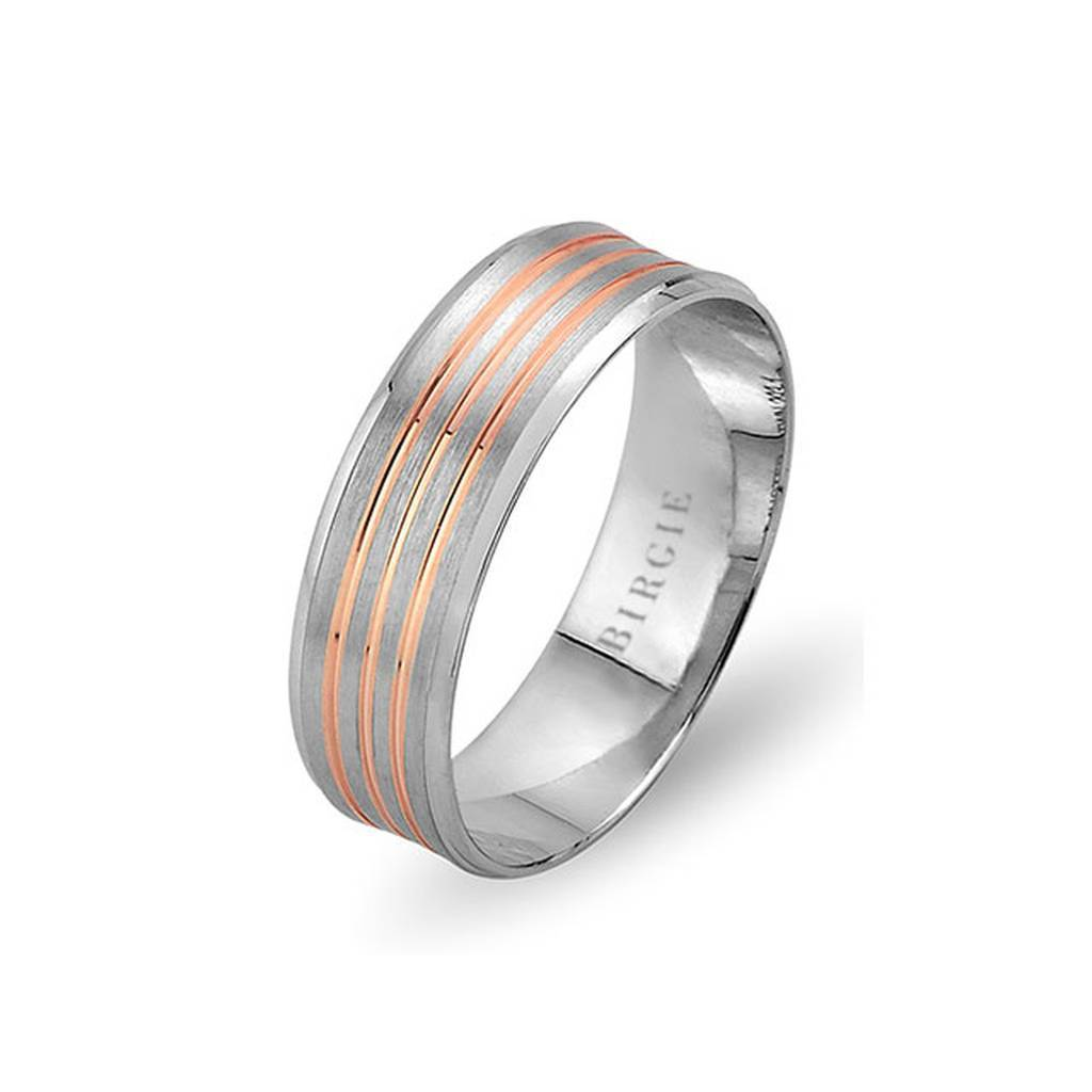 White and Rose Gold Buhari Wedding Band