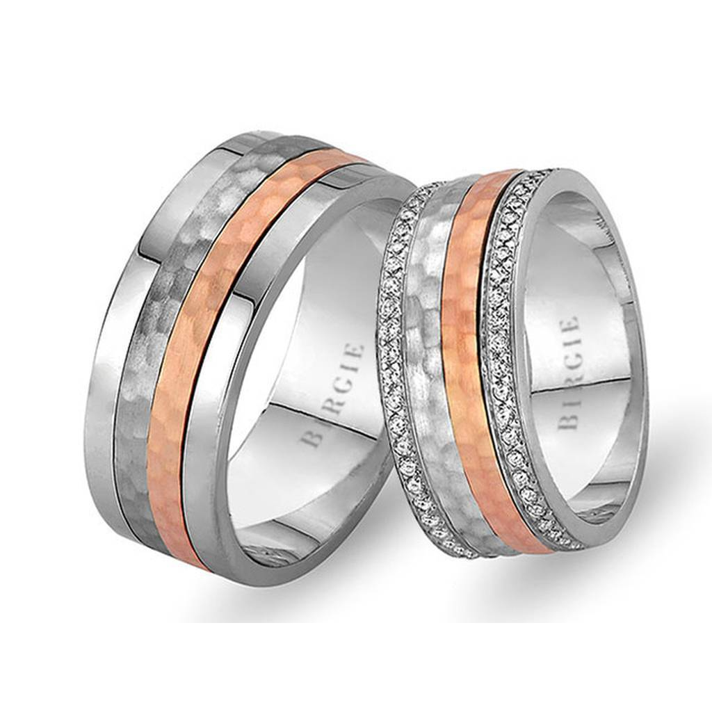 White and Rose Gold Buhari Wedding Band w/ Twin Line Diamonds