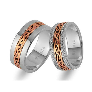 White and Rose Gold Entangled Design Wedding Band w/ Twin Line Diamonds