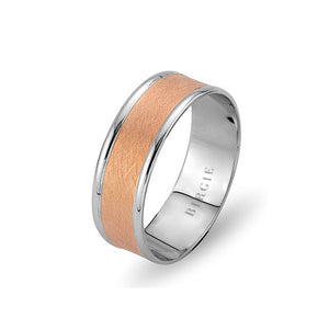 White and Rose Gold Bihzad Wedding Band