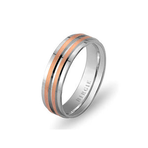 White and Rose Gold Herat Wedding Band
