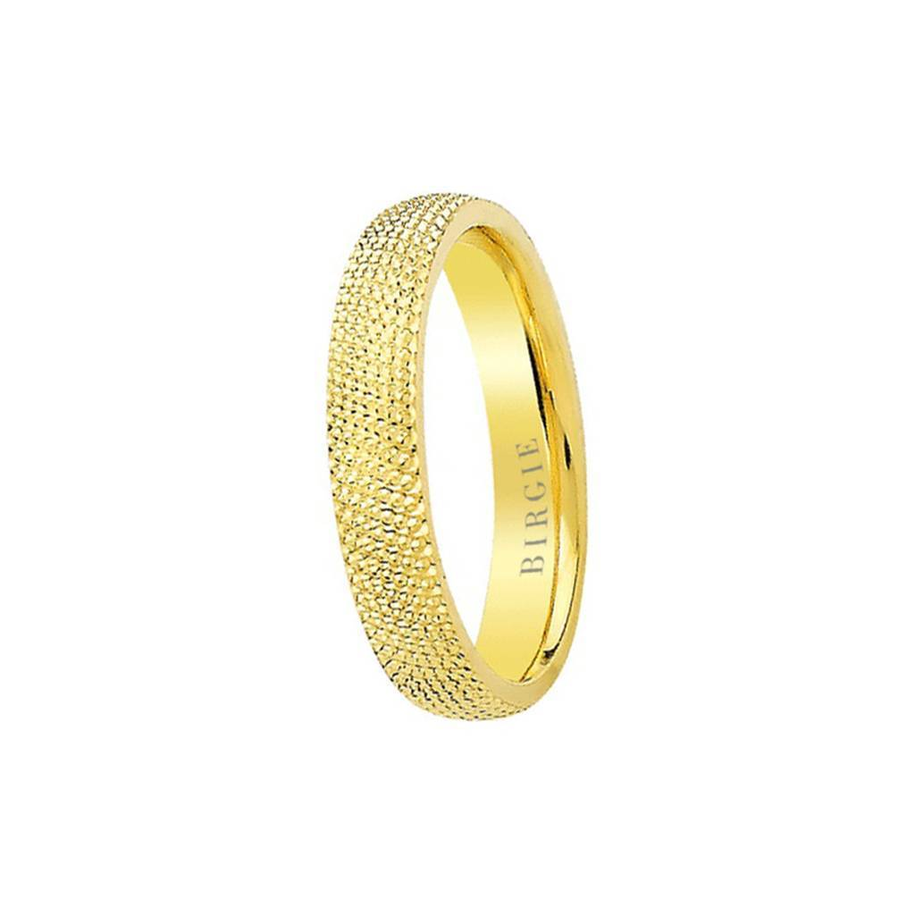 Yellow Gold Convex Textured Classical Wedding Band