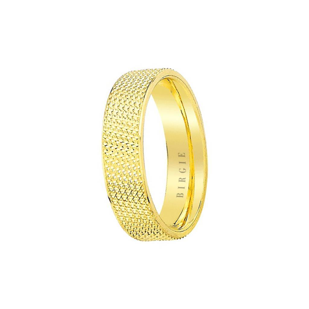 Yellow Gold Textured Flat Classical Wedding Band