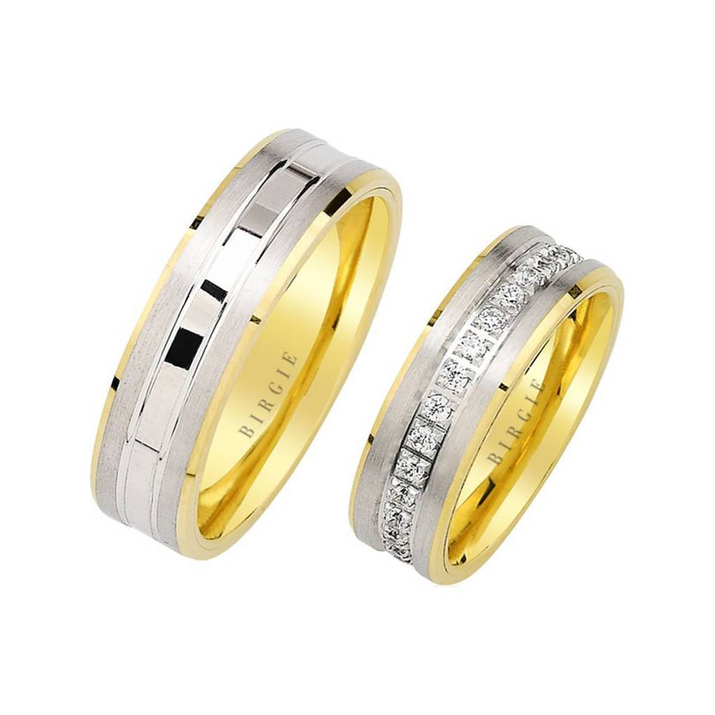 White and Yellow Gold Lebon Wedding Band w/ Diamonds