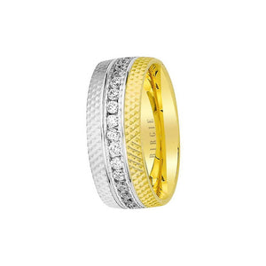 White and Yellow Gold Fresko Wedding Band w/ Diamonds