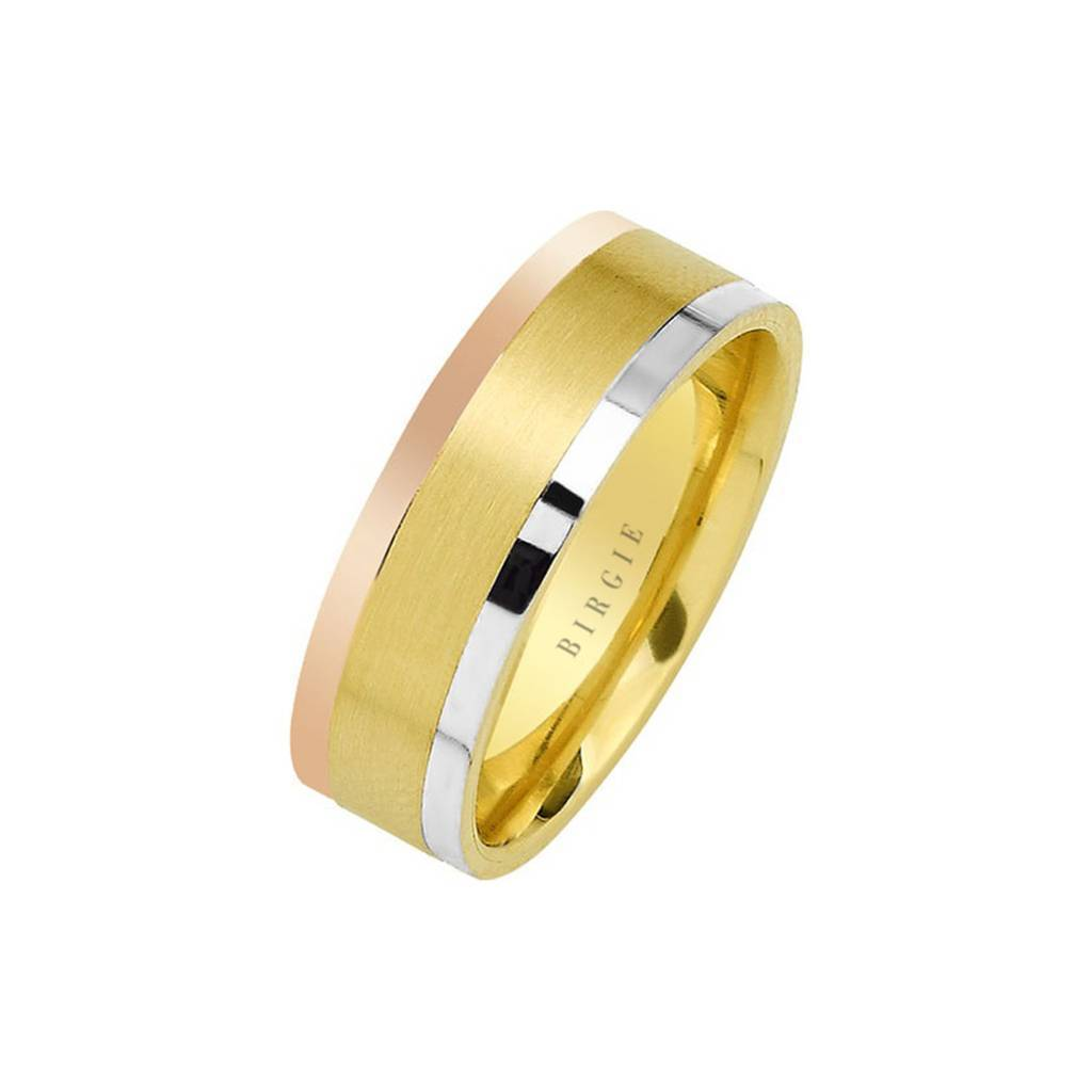 White, Rose and Yellow Gold Wedding Band