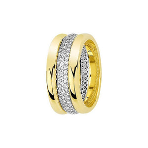 White and Yellow Gold Dardanelles Wedding Band w/ Diamonds