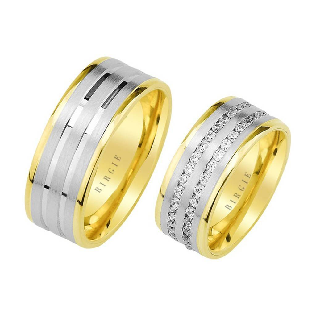 White and Yellow Gold Harput Wedding Band w/ Twin Line Diamonds