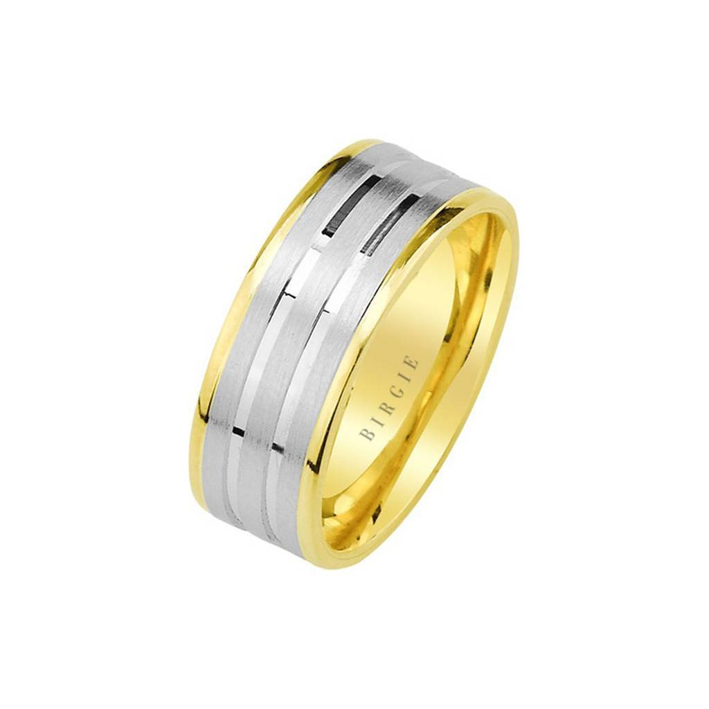 White and Yellow Gold Harput Wedding Band