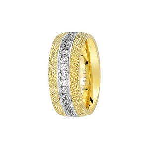Yellow and White Gold Nile Wedding Band w/ Diamonds