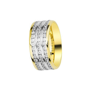 White and Yellow Gold Wedding Band w/ Triplet Diamonds