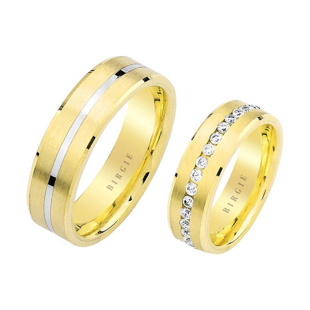 White and Yellow Gold Pan Wedding Band w/ Diamonds