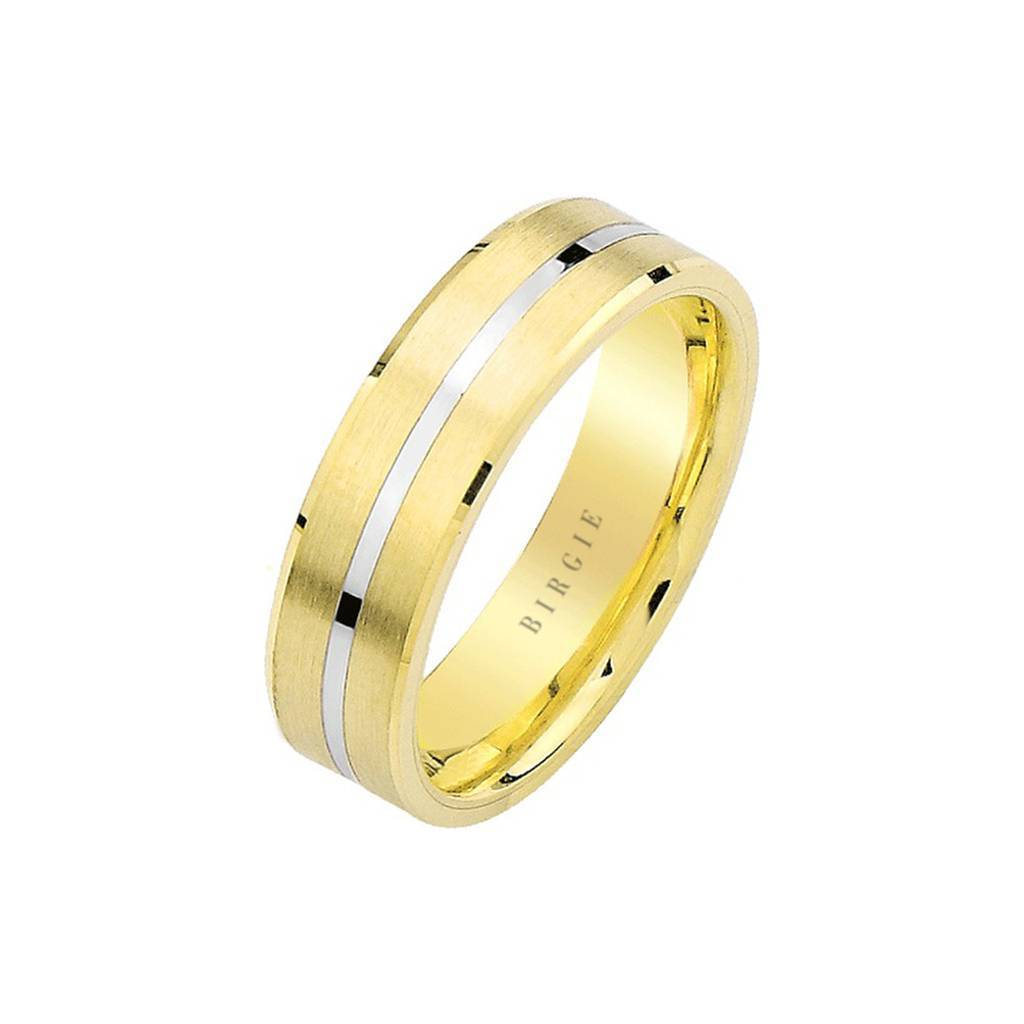 White and Yellow Gold Pan Wedding Band