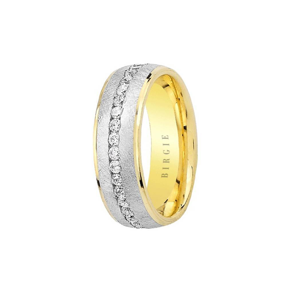 White and Yellow Gold Ren Wedding Band w/ Diamonds