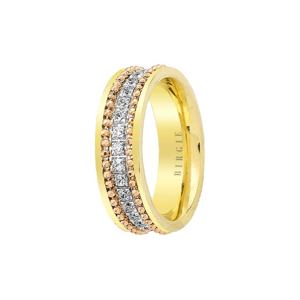 White, Rose and Yellow Gold Wedding Band w/ Diamonds