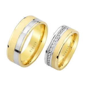 White and Yellow Gold Ishtar Wedding Band w/ Diamonds
