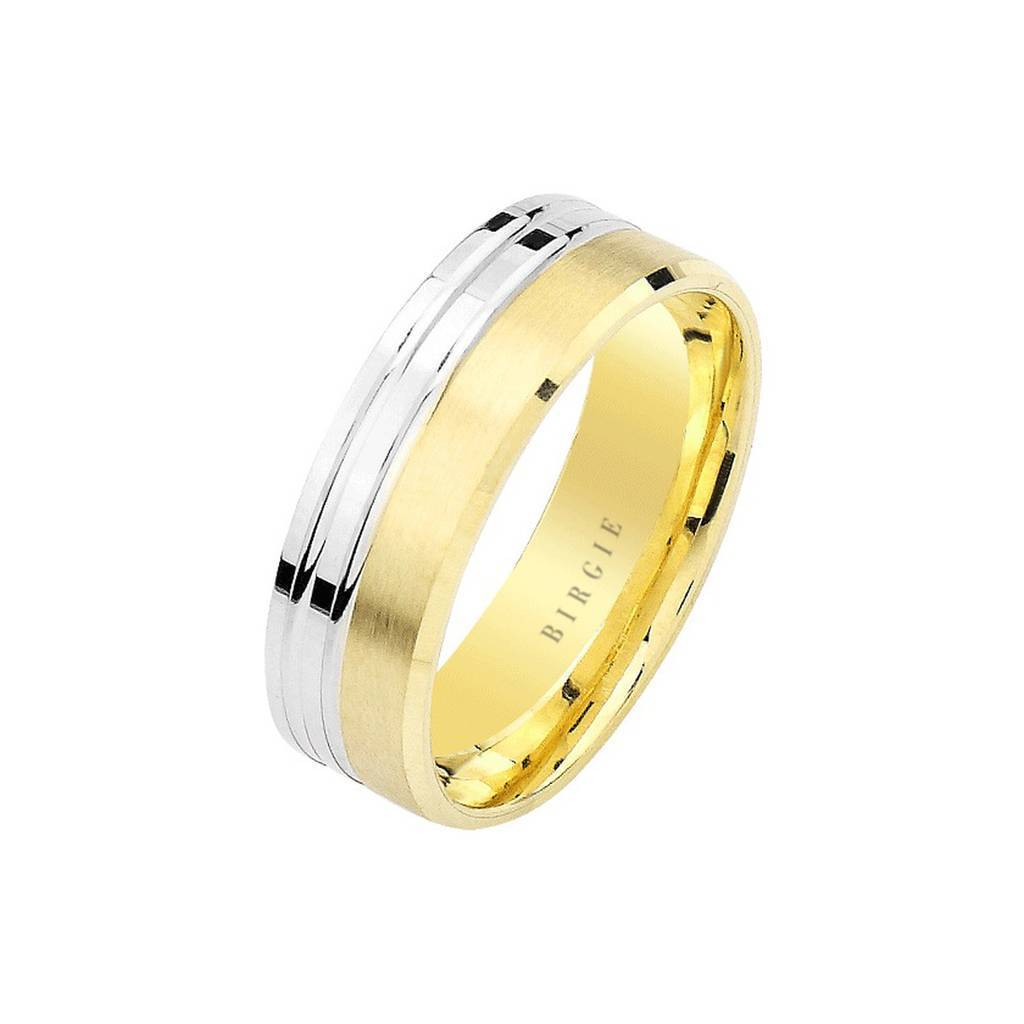 White and Yellow Gold Tigris Wedding Band