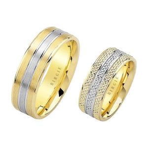 White and Yellow Gold Ve Amoris Wedding Band