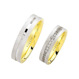 White and Yellow Gold Tike Wedding Band w/ Diamonds