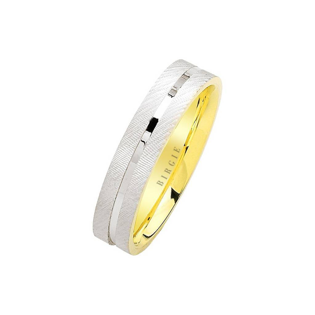 White and Yellow Gold Tike Wedding Band