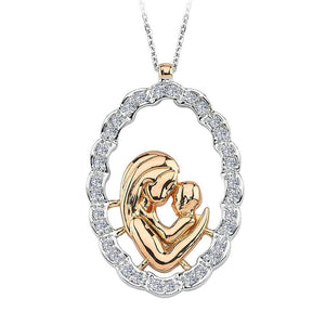 Diamond Mother Heart Necklace