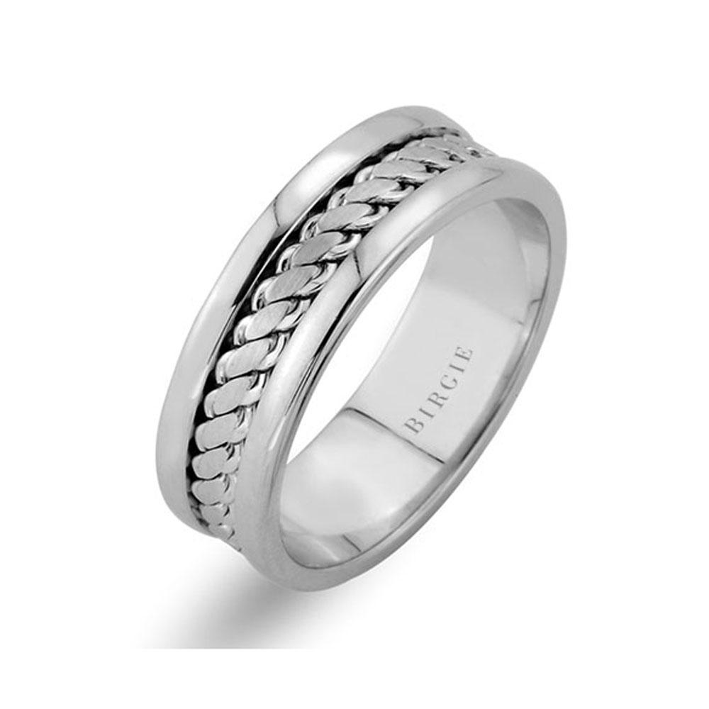 Twirling Design White Gold Wedding Band w/ Twin Line
