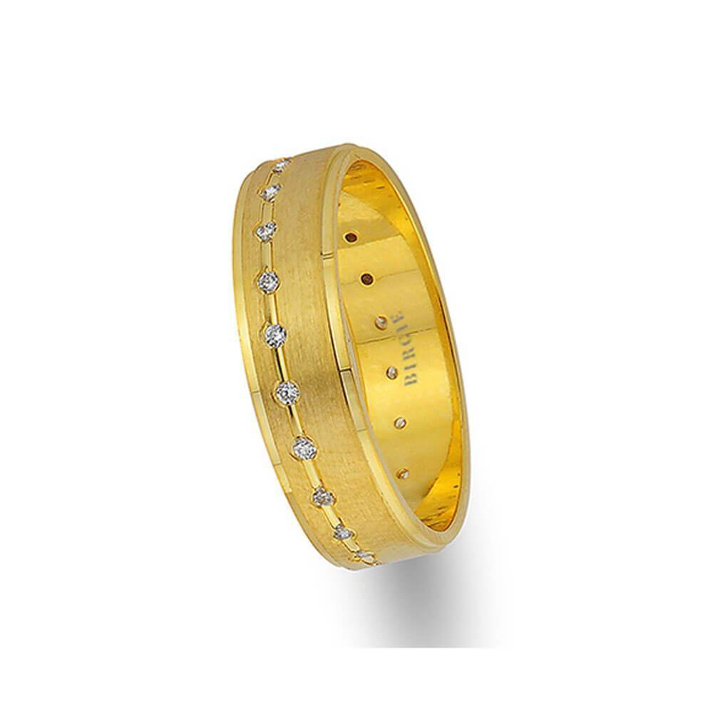 Yellow Gold Grooved Classical Wedding Band w/ Diamonds